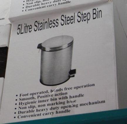 5l stainless steel step bin